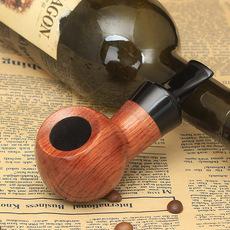 木香 花梨木短胖粗大气室烟斗老式烟丝斗直式实木烟斗精送十件套
