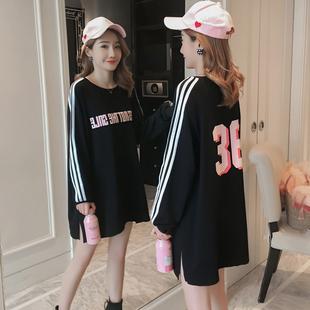 运动宽松中长款黑色长袖T恤女学生纯棉数字大码体恤打底衫上衣春