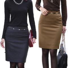 高腰及膝裙ol职业一步裙百搭大码半身裙职业半身中裙毛呢短裙