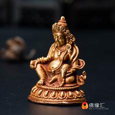 【佛缘汇】藏传佛教用品尼泊尔手工全鎏金密宗随身佛黄财神佛像