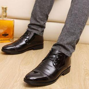 新款冬季青年男鞋尖头棉皮鞋加绒黑棕商务休闲高帮英伦潮鞋子