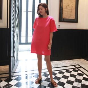 2018夏装新款小清新棉麻连衣裙女韩版小个子显瘦宽松a字亚麻短裙