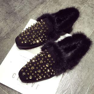 时尚欧美2016冬季新款铆钉方头水貂毛毛毛鞋女加绒平底豆豆鞋刺猬