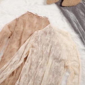 百搭高领蕾丝衫女长袖秋冬季内搭打底衫透明宽松韩版网纱超仙上衣打底衫蕾丝