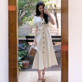 夏eggsshop法式智熏复古裙过膝棉麻鱼尾裙收腰中长款很仙连衣裙女