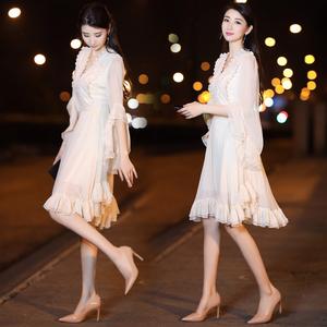 2018春夏新款女装韩版名媛超仙气质雪纺连衣裙中长款收腰仙女裙连衣裙