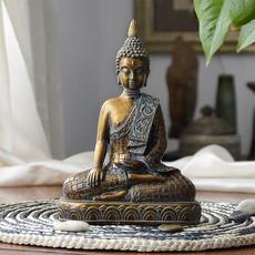 桌面如来佛摆件释迦摩尼祖佛像办公室保平安开光招财泰国佛头摆饰