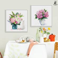 饰画 花语 餐厅装 现代简约 小清新花卉花瓶三联家居布艺饭厅挂画