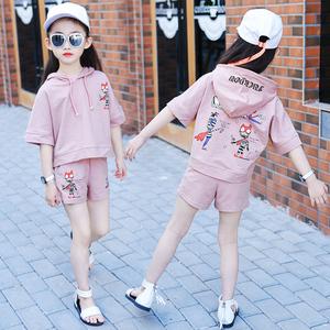 女童夏装套装短袖2018新款4纯棉5儿童6时髦7运动9两件套3-11周岁女童运动套装
