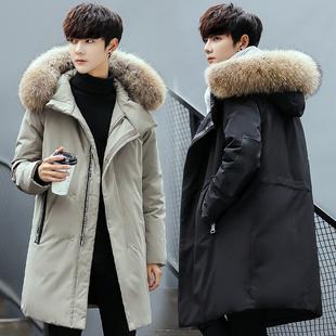 2017新款羽绒服男中长款冬季帅气加厚韩版潮流修身男士大毛领外套