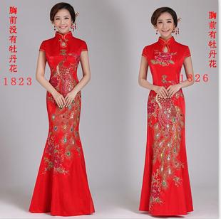 鱼尾旗袍结婚长款 红色新娘敬酒服新款2019中式晚礼服修身QP1823