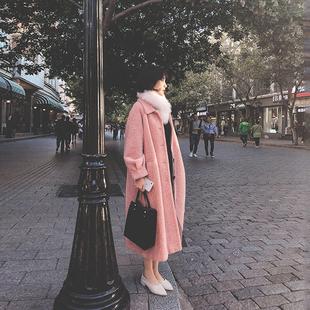 2018冬季新款水貂绒毛呢外套女装中长款赫本风小个子呢子大衣流行