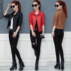 2017冬季女装新款韩版皮衣女短款pu皮短外套加厚加棉修身皮夹克女