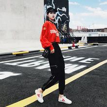 秋季2018新款嘻哈少女时尚套装女社会衣服酷潮蹦迪女装心机两件套