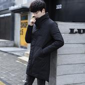 男装 男士 羽绒服加厚保暖修身 韩版 冬季新款 帅气立领中长款 青年外套