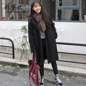 呢子大衣 毛呢外套柏俅钍鄙胸大码 修身 中长款 彩黛妃2017秋冬韩版 女装