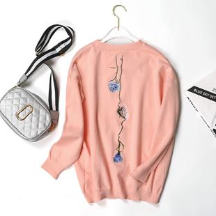 2019春新款女装韩版圆领羊绒毛衣女打底衫套头修身针织衫学生装
