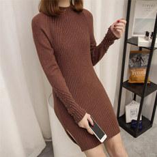 2017秋装新款加厚高领纯色时尚钉珠毛衣女士中长款套头针织打底衫