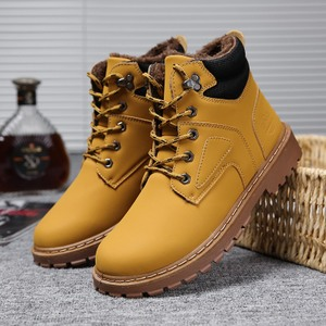 秋季马丁靴高帮沙漠靴男靴子工装复古皮靴男士短靴英伦加绒棉鞋潮