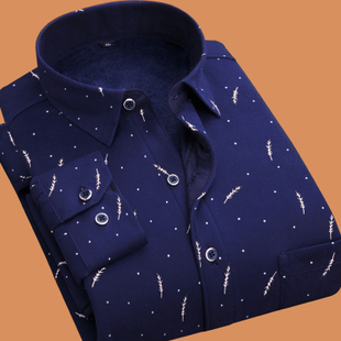 【保暖衬衫】男士长袖格子加绒加厚修身秋冬季休闲衬衣帅气男装