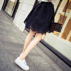 蕾丝半身裙春夏2016新款名媛气质黑色蕾丝短裙高腰a字蓬蓬百褶裙