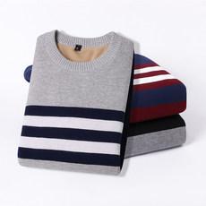 加绒加厚男士毛衣针织衫纯棉线衣毛衫长袖秋装上衣保暖衣服冬季