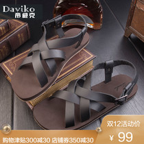 一字凉拖时尚 罗马凉鞋 流行沙滩鞋 新款 男秋季真皮英伦防滑潮个性