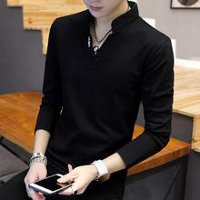 男士t恤长袖V领上衣服小衫 2018春季韩版修身百搭打底衫潮流卫衣