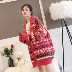 红色毛衣女外套开衫韩版中长款宽松早春针织衫冬2018春装新款加厚女式外套