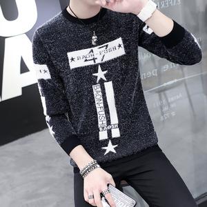 男士毛衣春秋季青年韩版修身圆领马海毛针织线衫潮流保暖打底衫男男士针织衫