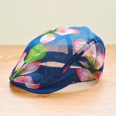新款镂空花朵鸭舌帽 女贝雷帽透明夏天帽子韩版潮时尚旅游