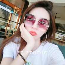 切边无框超大框太阳眼镜女韩版 时尚 防紫外线防晒墨镜大脸显瘦