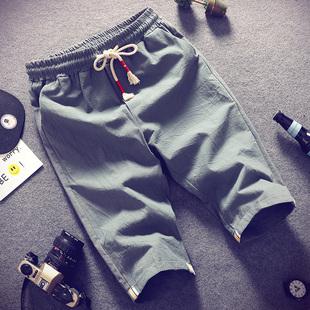 棉麻短裤男士七分裤夏季2019宽松7分六分五分裤子薄款潮流休闲裤
