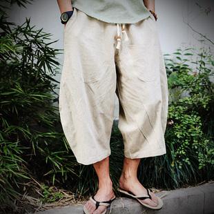 中國風亞麻短褲寬腿七分褲男士寬松加肥加大碼胖子棉麻五分闊腿褲