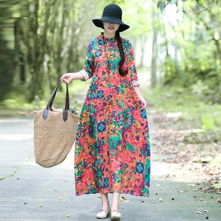 秋装新款民族风女装中式复古改良旗袍棉麻长袖宽松连衣裙袍子长裙