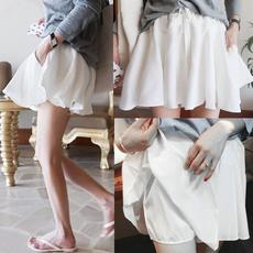 短裤裙女夏季a字文艺白色蓬蓬裙高腰防走光系带半身裙裤雪纺短裙