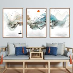 新中式客厅装饰画现代简约沙发背景墙三联画书房餐厅玄关山水画
