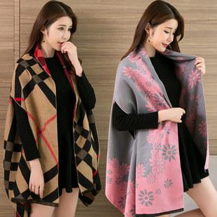 百变披肩围巾两用女士格子新款秋冬季外套双面百搭棉麻韩版加厚