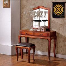 桃花心木美式实木家具梳妆台化妆台镜妆凳欧式新古典梳妆台胡桃色