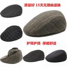 中老年人帽子男士冬季老人保暖爸爸老头帽中年鸭舌帽护耳贝雷前进