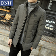 DNH2017冬装羽绒服男短款立领外套青年个性纯色中长款羽绒上衣潮