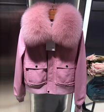 真皮皮衣女短款2017进口绵羊皮棒球服加厚羽绒狐狸毛领粉色皮夹克