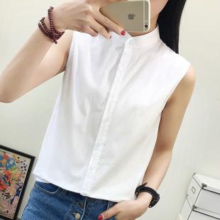 纯棉无袖衬衫女2017夏季新款韩版立领白色衬衣女气质百搭休闲上衣