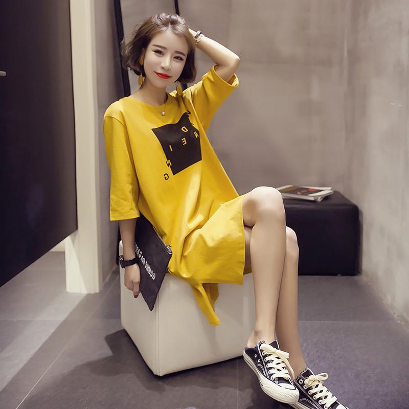 2018夏装新款韩版宽松中长款短袖开叉连衣裙女半袖学生t恤女上衣图片