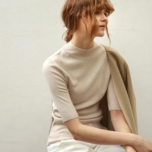 2016欧美春秋女装半高领修身打底针织衫女中袖薄款套头五分袖毛衣女装定制