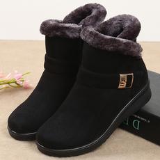 冬季妈妈鞋棉鞋中老年女鞋平底加厚保暖防滑老人雪地靴中年短靴女
