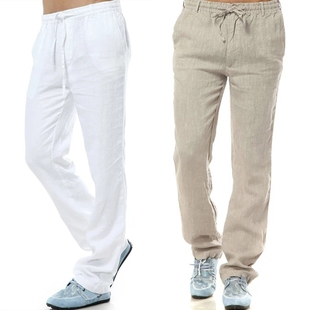 夏季薄款男士亚麻休闲裤宽松棉麻直筒麻料夏裤白色长裤大码男裤子