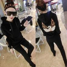 时尚 刺绣卫衣休闲运动套装 冬季新款 金丝双面绒两件套女士韩版 加厚