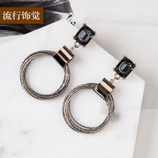 流行饰觉 s925纯银耳针韩版高档圆环方水晶耳环时尚双色电镀耳饰