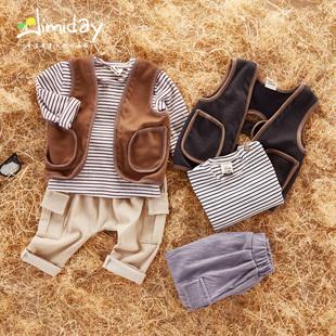 宝宝马甲套装春秋季婴童条纹套装0-1-2岁男童长袖+裤子婴儿三件套